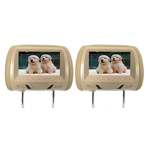 oll-Kopfstütze Auto DVD hinten montiert AV-Player Monitore FM LCD-Display Sender HD Car Display 2-TLG,Beige ()