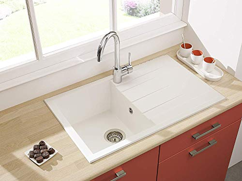 respekta Spüle Küchenspüle Einbauspüle Granit Spülbecken Mineralite 80 x 50 weiß