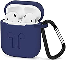 ikazen Silicone Shock Proof Protective Case Sleeve Skin Cover with Key Chain Clasp for Apple AirPods Wireless Headphone Charging Box (Blue)