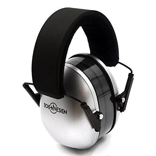 TOENNESEN Baby/Kinder Gehörschutz Ohrenschützer NRR 34dB Kapselgehörschützer für Babies/Kinder ab 3 Monate unter 12 Jahr alte Kids Ear Defenders mit einstellbarem Kopfbügel,Faltbar,Licht,Komfortable,Weich(Silber)
