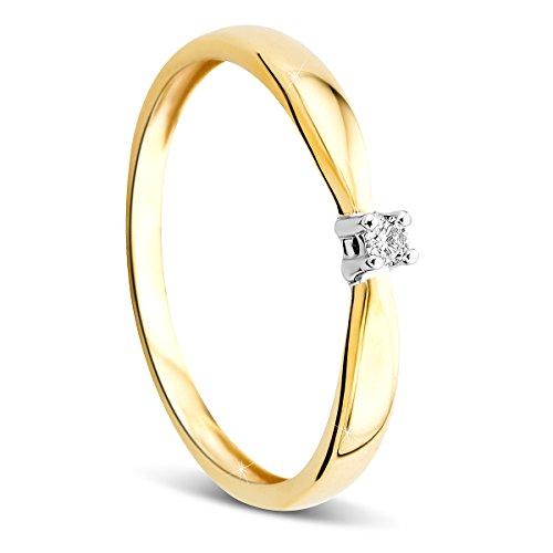 Orovi Anello di fidanzamento con solitario per donna, oro a 9carati (375), diamante da 0,03 carati, bicolore in oro bianco e oro giallo e Due ori, 56 (17.8), colore: gold, cod. OR72258R56