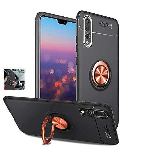 BeautyWill Huawei P20Pro Fall mit Ring, Weiche TPU 360Grad Drehbar Ständer magnetisch Drop Wasserabweisende Handy Hülle für Huawei P20Pro Black and Rose Gold
