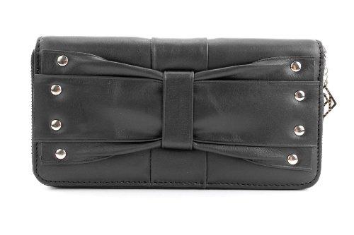 ital. Damen Portemonnaie Geldbörse Geldbeutel Geldsack Portmonee Geld Leder X685603 Schwarz