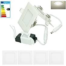 ECD Germany 4 x Ultraslim Thin ultra delgado LED Panel Proyector incorporado 3W 8.5 x 8.5 cm SMD 2835 Neutro Blanco 4000K 220-240 V aprox. 129 Lúmenes Empotrado Luz de techo Cuadrado