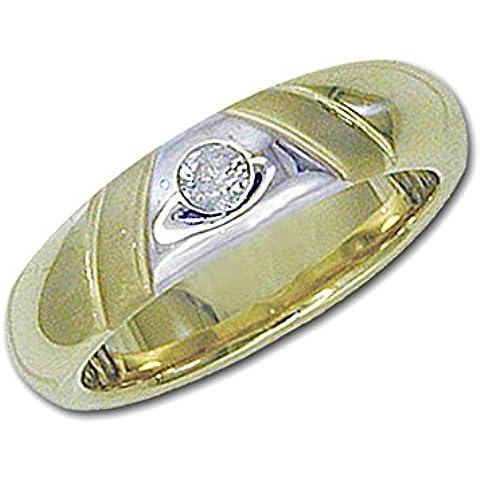 Posh Diamonds Anello in oro giallo 585 -, con 1 Brillant 0, 10ct. Anello taglia 52 - Giallo Tensione In Oro Anello