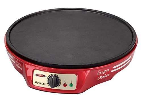 Ariete 183 Party Time - Crepera, 1000 W, placa antiadherente, accesorios de madera, color rojo