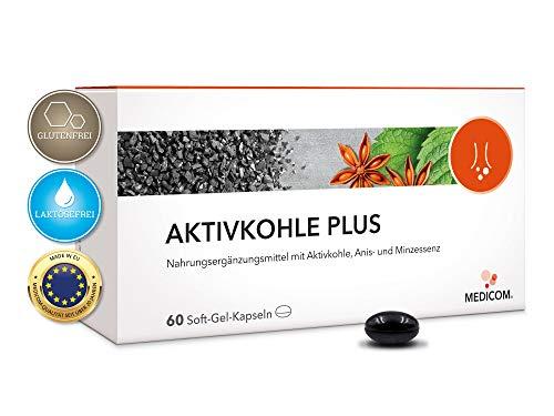 MEDICOM Aktivkohle Plus mit Anis und Minze • Aktivkohle Kapseln mit 870 mg Charcoal pro max. Tagesdosis • 60 Stk.