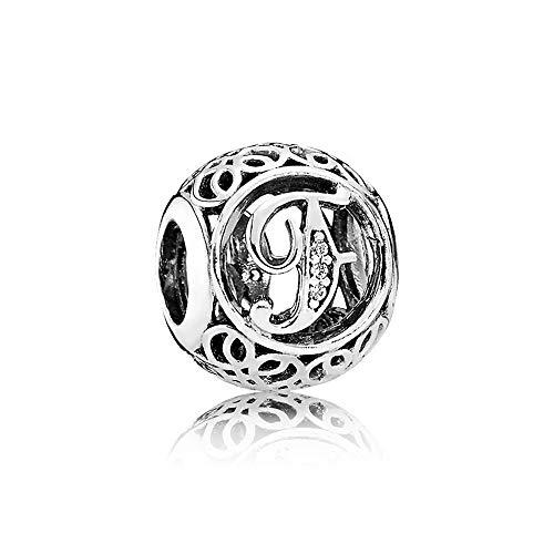 b54fff91b907 Letter Alphabet Charm 925 Sterling Silver Charms Fits Pandora, European  Bracelets Compatible