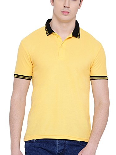 TSX Men's Solid Regular Fit Polo (POLOTWIST-6_Yellow_Medium)