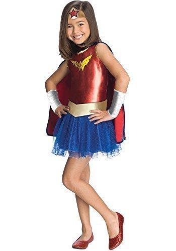 Mädchen Wonder Woman Super Hero Büchertag Woche Halloween Kostüm Kleid Outfit - Rot/Blau, Rot/Blau, 3-4 (Kostüm Mädchen Woman Für Halloween Wonder)