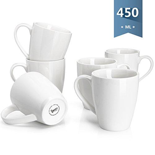 Sweese 6201 6-teilig 450ml Kaffeetassen Kaffeebecher Set aus Porzellan, Milch Tee Becherset, Tasse mit großem Henkel für Heißgetränke