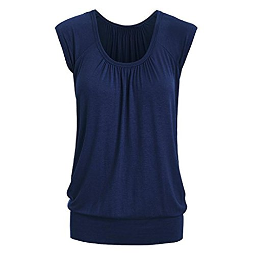 SEWORLD Damen Sommer Mode Frauen Beiläufige O-Ausschnitt Rundhals Solide Kurzarm T-Shirt Top Bluse(Blau,EU-42/CN-L) (Baumwoll-baseball-jersey Solide)