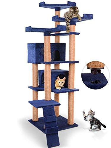 Kratzbaum Deckenhoch - mit 2 Höhlen und 3 Plattformen, 163 cm hoch, Farbauswahl - Katzenkratzbaum, Katzenbaum, Kletterbaum, Katzen Spielbaum, Katzenspielzeug