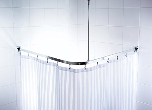 Ridder 525000 350 struttura angolare per tenda doccia 90 x 90 x 90 cm in alluminio lucidato - Tringle a rideau arrondie ...