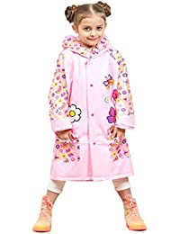 Malvina Kids Raincoat Flower Pattern Adorable Colorful Design Raincoat (Pink)-(Pack of 01)