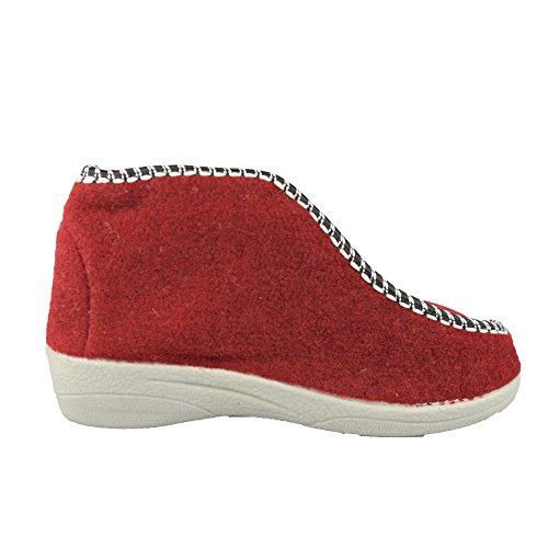 BTS–calde pantofole con fodera in lana di pecora da donna–colore: rosso, Gr. 36–42 Rot