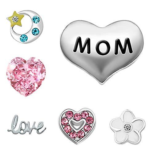 """Mum Love You To The Moon and Back \""""Herz mit Schwebeeffekt, für Charm-Halskette Glasperlen Zahndosen/Haardosen Living"""