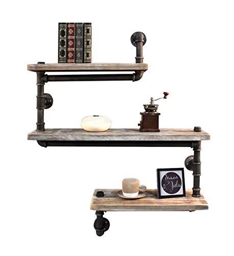 Schweberegale 3-Tiers Holz Wandregal als Hängeregal Bücherregal Lagerregal für Wohnzimmer Schlafzimmer Vintage Dekoratives Display Design -