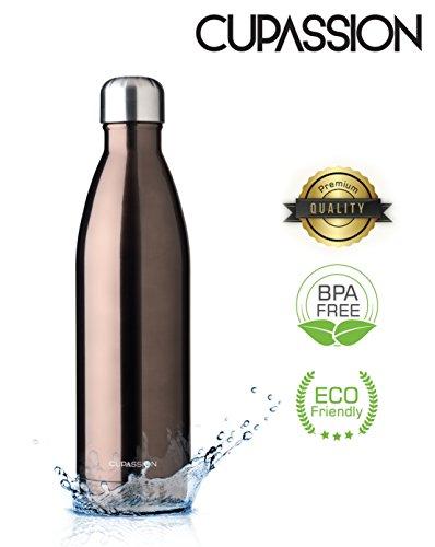 Brown Metallic- Edelstahl Vakuum Isolierflasche 750ml | Trinkflasche Wasserflasche | hält Getränke 18h heiß & 24h kalt | Thermosflasche & Thermoskanne | ()