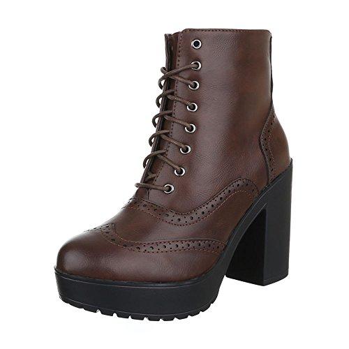 Schnürboots Damen Schuhe Combat Boots Blockabsatz Leicht Gefüttert Reißverschluss Ital-Design Stiefeletten Braun