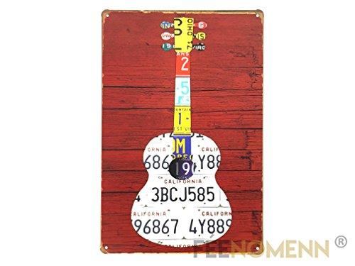 FEENOMENN Plaque Métal Déco Vintage - Guitare Immatriculation Américaine (20x30cm)