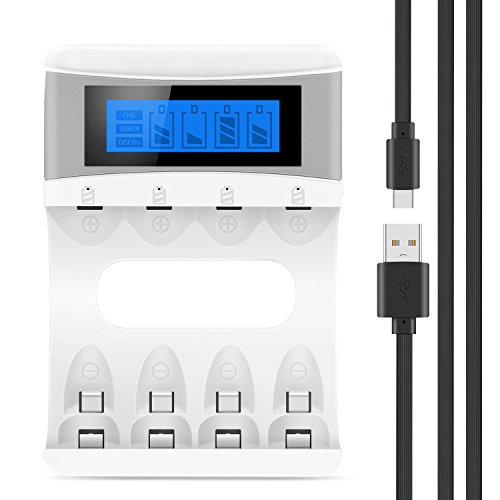 Tycipy LCD Akku Ladegerät für Ni-MH/Ni-CD 4 AA/AAA Akkus mit Anzeige, Universal Akkuladegerät für Micro AAA/AA Akkus Steckerladegerät 4-Bay 2000mAh 5V (LCD-Weiß)