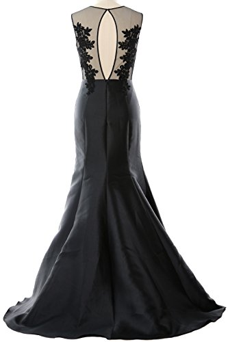 MACloth Women Mermaid Evening Gown Straps Illusion Lace Satin Formal Party Dress Dark Green