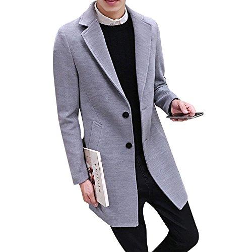 Herren Elegante Mantel Winter Schlank Trenchcoat Jacke Long Coat Overcoat  Grau L 75eff5a831