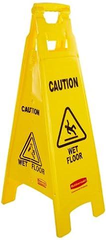 Rubbermaid Commercial Products FG611477YEL Signalisation de Sol 4Faces avec Mention Imprimée «Caution/Wet Floor» (Attention, Sol Humide),
