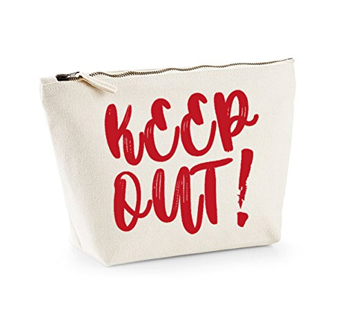 Keep Out - Fun Slogan, Make Up and Cosmetics Bag, Accessory Organiser Natural/Red