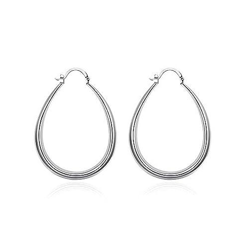 Bodya Mode Noble Style Argent plaqué or Grand dôme Cool Boucles d'oreilles créoles Cercles Forme ovale pour fête