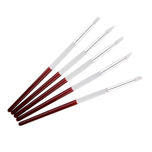 sharplace 5x Set Pennelli in Silicone Nail Art silicone scultura penna a decorazione Smalto per Unghie