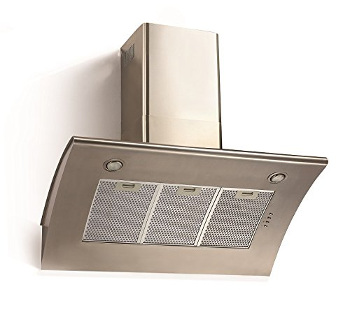 Cookology ARCH900SS 90cm Extractor Fan | Angled Stainless Steel Chimney Cooker Hood & Recirculating Filters