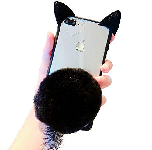 iPhone Fall Cute Kitty Katzen 3D Cat Ohren Design flauschig Ball mit Plüsch Furry Tail Slim Flexible Kristall Silikon Soft Transparent TPU Schutzhülle für Apple iPhone iPhone 8/7 schwarz
