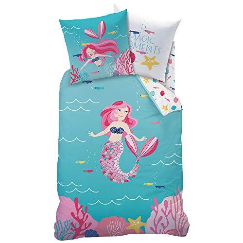 Kostüm Biber Schwanz - MERMAID MEERJUNGFRAU Mädchen Bettwäsche · Kinderbettwäsche · OCEAN GIRL · magische Momente in der Unterwasserwelt türkis, rosa, pink - Kissenbezug 80x80 + Bettbezug 135x200 cm - 100% Baumwolle