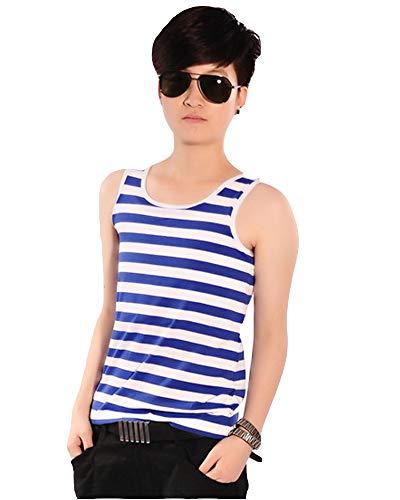 Streifen Bandage (BaronHong Frauen Lesben Tomboy Bandage Haken Cosplay Bunte Streifen Oberbekleidung Tank Top Weste Chest Binder (blau-weiß, XL))