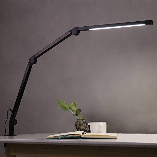 Eyocean LED Schreibtischlampe,Schwenkarm Architektenlampe Arbeitsleuchte,Berührungssteuerung Büro Tischlampe, Stufenloses Dimmen einstellbare Farbtemperaturen,Augenschutz,9W Klemmleuchte,Mattschwarz