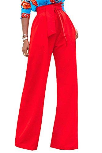 La Mujer Casual Solid Cintura Alta Pantalones Palazzo con Cinturón Suelto Fiesta De Oficina Red S