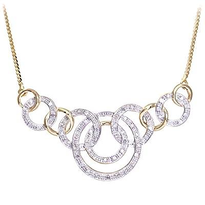 Naava Women's Diamond Necklace, Pave Set, 9 ct Yellow Gold Herringbone Chain, 41cm Length, 0.25 ct Diamond Weight, Model PNE1554