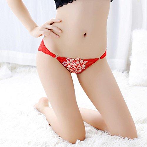Sous-Vêtements Femme Longra Femmes Culottes Bretelles en Dentelle Tongs G-string Lingerie Sous-Vêtements Rouge