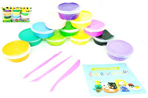 Vivir High Quality Lightweight Magic Mould and Dry Clay Dough for Kids 12 Colors and Moulding Tool Set ( Toys for 3 Years Boys and Girls )