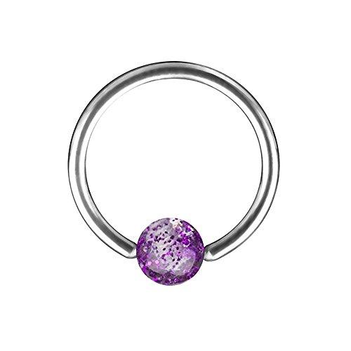 Piercingfaktor Piercing Brust Nippel Intimpiercing Ring Hufeisen Ultra UV Glitter Kugel - Lila / 1,2mm x 10mm x 4mm
