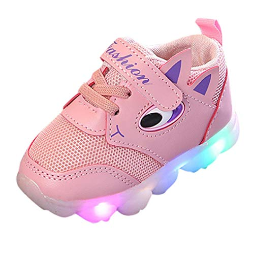 QinMM Kleinkind Baby Girs LED Licht Schuhe, Jungen Weiche Luminous Outdoor Sportschuhe Herbst Winter Turnschuhe Rot Weiß Rosa 20 EU-29 EU (24 EU, Rosa)