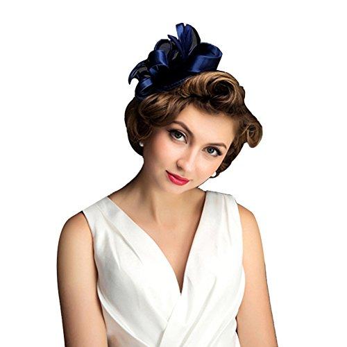 Icegrey Damen Burlesque Kostüm Karneval Fasching Mini Hut Fascinator mit Schleier Navy (Mit Rosa Schleier Weißer Mini Hut)