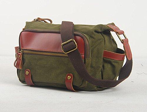 Bronze Times (TM) Kanevas stylisch Multi-Pocket Umhängetasche (Grün) Grün