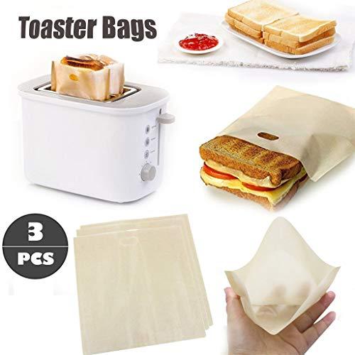 Hukz 3er Set Antihaft Toastabags Wiederverwendbar für Mikrowelle, Toaster und Backofen, BPA-frei, Gluten-frei, Toasterbeutel Toaster Bags Tasche BBQ Grill Barbecue Toast Bag Teflon Beutel Toastabag