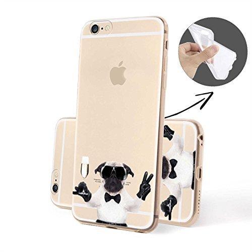 FINOO | Iphone 6 / 6S Plus Weiche flexible Silikon-Handy-Hülle | TPU Cover Schale mit Motiv | Tasche Case mit Ultra Slim Rundum-schutz | stoßfestes dünnes Bumper Etui | Hund mit Sekt von der Seite Hund im Anzug