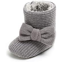 Patucos de Ganchillo Lana Bebé Invierno Soft Sole Crib Caliente Botas de  Niñas Algodón con Bowknot 30bcea18bd0