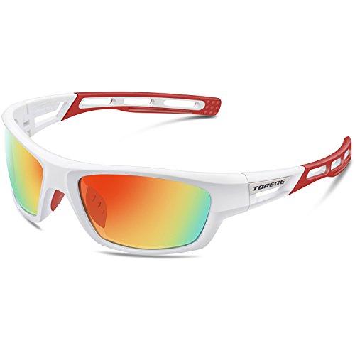 Torege Sport-Sonnenbrille polarisierte Sonnenbrille für Mann Frauen Radfahren Laufen Angeln Golf TR007, White&Red&Red Lens ...
