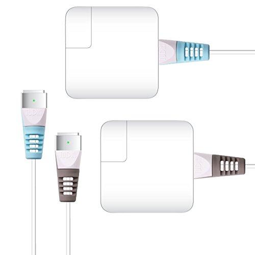 TUDIA Klip Snap On Lightning USB Kabel Cable Protector Schutz für MagSafe 2 (for MacBook Pro with Retina display) (Blau & Grau (4pcs)) Snap Fit Connector